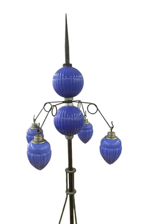 Blue Milk Glass Barnett Pleated Round balls and pendents