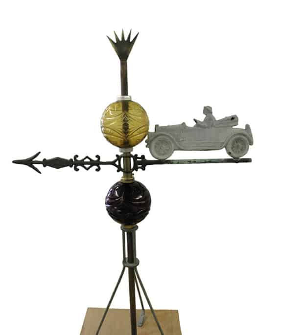 Antique Car and Moon and Star Lightning Rod Balls