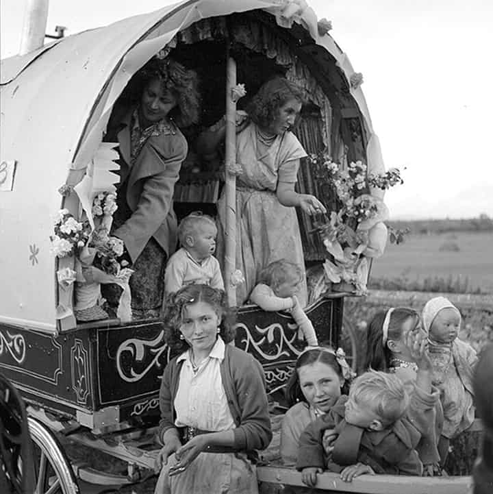 Unique Irish Traveller Mother And Her Children Outside A Caravan In