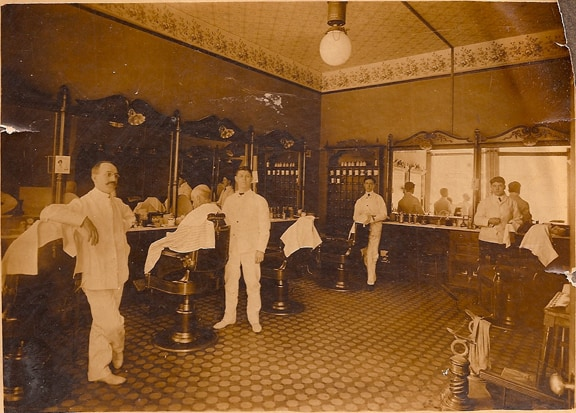 Barber Shop Manchester Nh : Barber shop wth bottles on the counter and mugs in the rack.  Steve ...