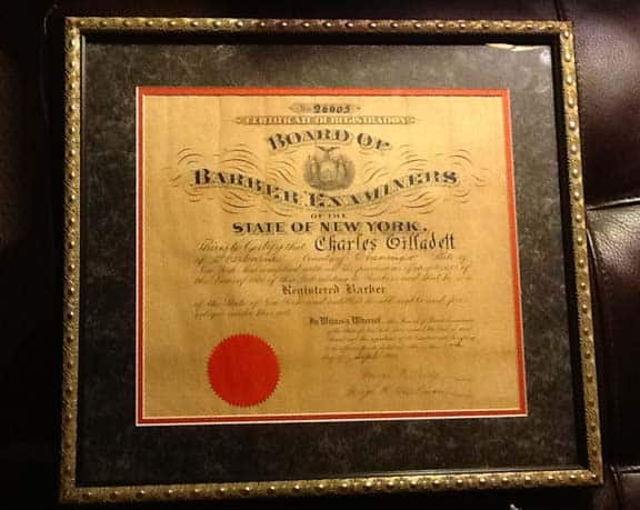 Barber License : New York State Barbers license that was issued in 1903.