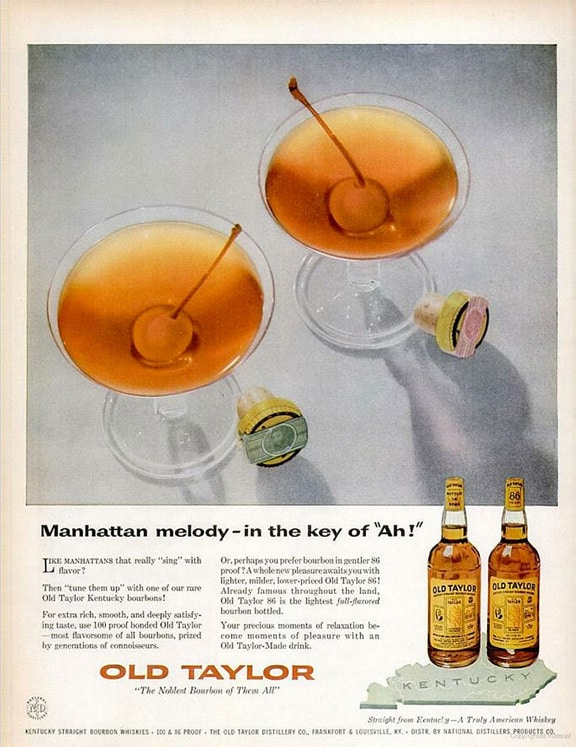 Old Taylor Bourbon Manhattan Advertisement Circa 1970