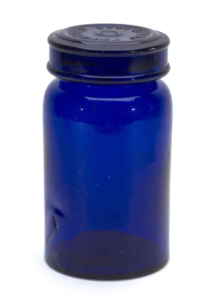 The only fruit jar in the auction is this cylindrical, deep cobalt blue example, the only one known in this color, circa 1858-1880 (est. $5,000-$10,000).