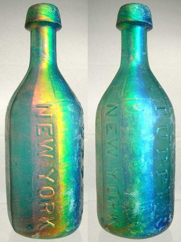 Benicia iridescence and patina on bottles not a sick for Remove paint from glass bottle