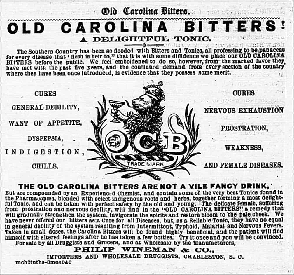 Old Carolina Bitters, Goodrich, Wineman & Co., advertisement – The Sumpter Watchman (Sumterville, S.C.) May 4, 1870