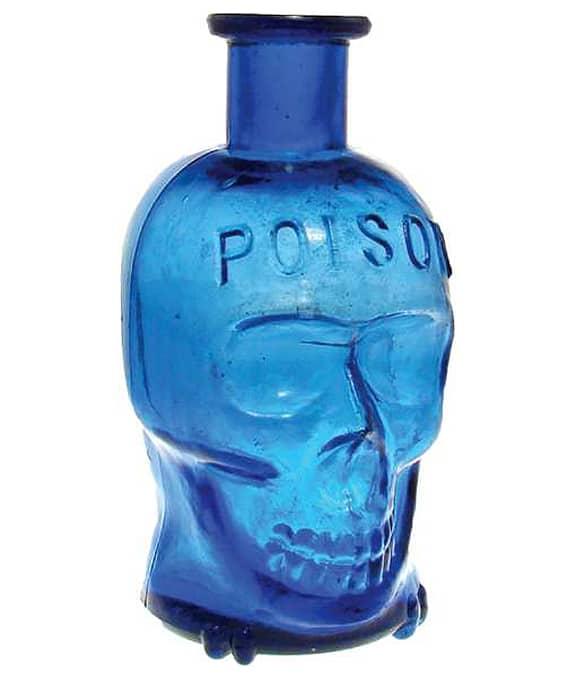 Skull Shaped Poison Bottles A Frightening Favorite Peachridge Glass