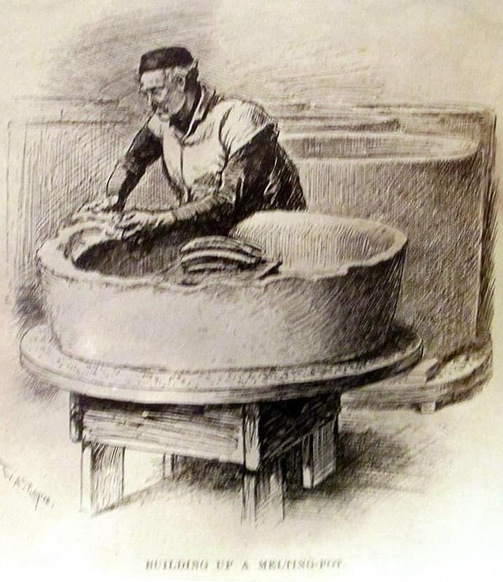 He is making a clay crucible for the glass making factory. One of the most important jobs at the factory. If they didn't get all the air pockets out it could blow up the furnace and often did.