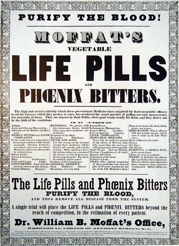 This is a reproduction of an 1860 Cure-all advertisement poster.