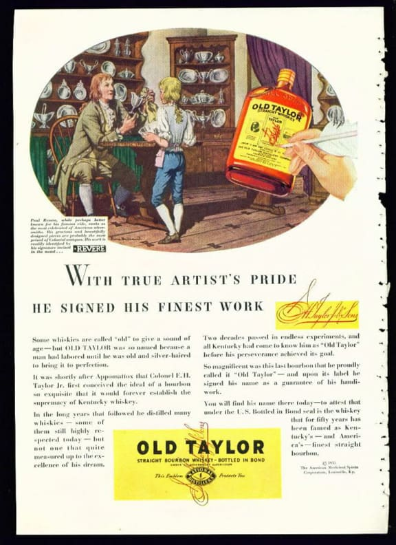 Old Taylor Bourbon Whiskey Advertisement with Paul Revere (1935)