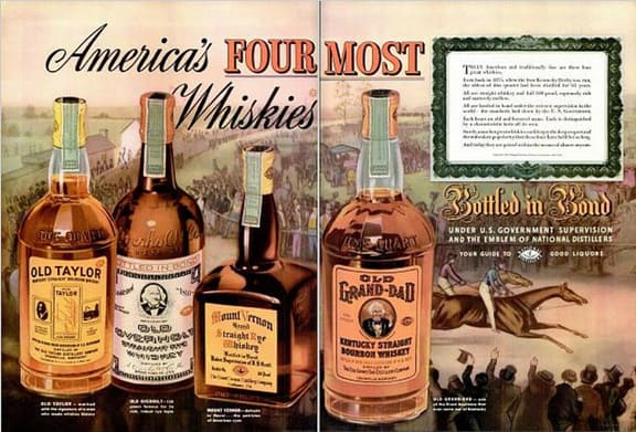 1938 Vintage Advert - America's Fourmost Whiskies: Old Taylor, Old Overhold, Mount Vernon & Old Grand-Dad
