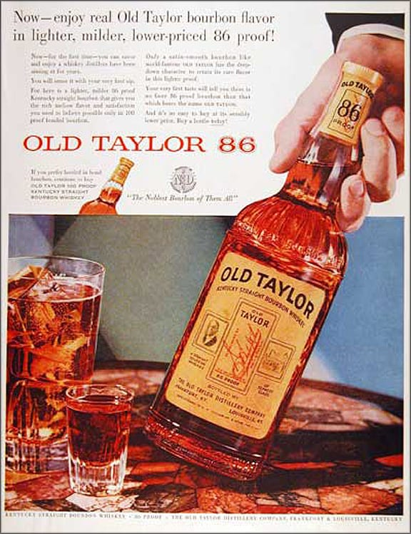 1955 Old Taylor Whiskey Advertisement