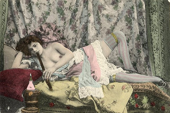 French nude postcard, ca. 19th century - Opium Den