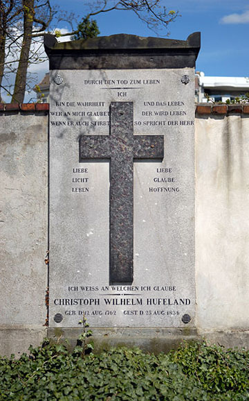 Grave of Christoph Wilhelm Hufeland in the Dorotheenstadt cemetery in Berlin