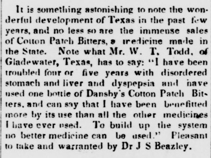 Cotton Patch Bitters - Richland Beacon - Rayville LA - June 29 1889