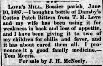 Cotton Patch Bitters - The Colfax Chronical - Colfax LA - Dec 31 1887