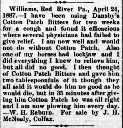 Cotton Patch Bitters - The Colfax Chronical - Colfax LA - June 2 1888
