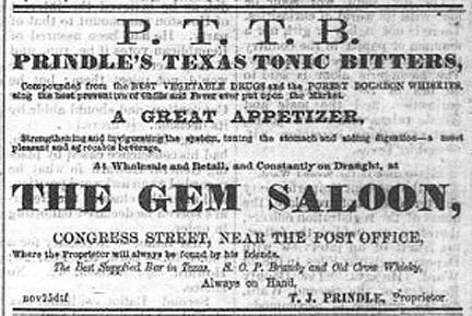 Prindles Texas Tonic Bitters - The Daily Mercury Houston Tex - Feb 24 1874