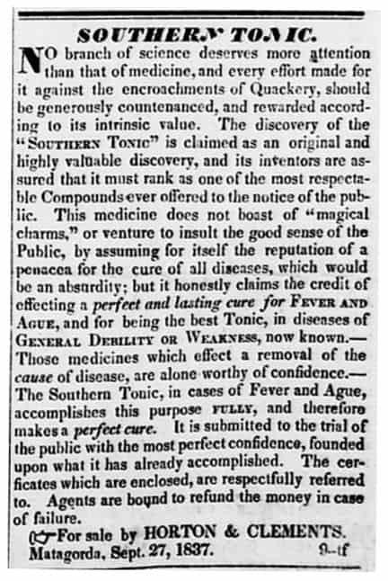 Southern Tonic - Matagorda Bulletin - Matagorda RofTX - Sept 27 1837