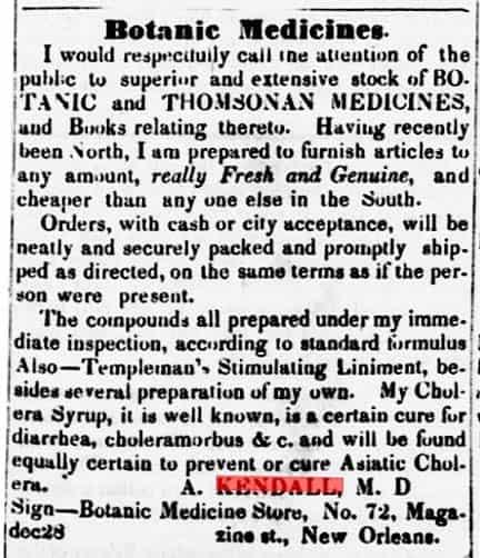 Kendall Ad - The Planters' banner - Franklin Attakapas Co LA - Feb 8 1849