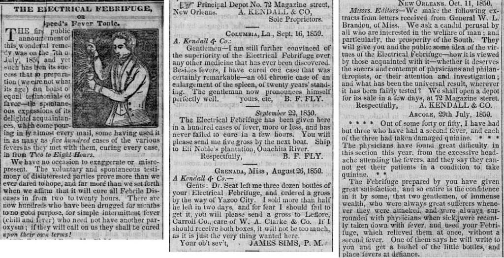 Kendall Ad - Weekly Journal - Galveston Tex - June 3 1851 - part 1