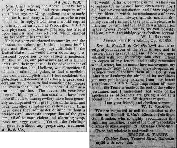 Kendall Ad - Weekly Journal - Galveston Tex - June 3 1851 - part 2