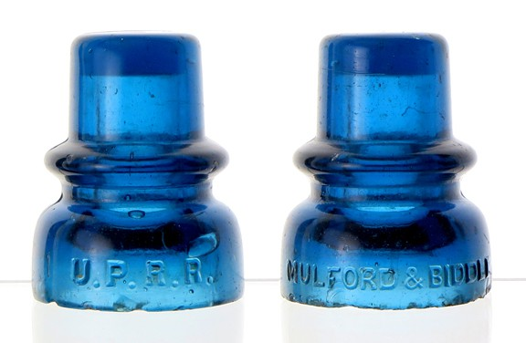 #313 .... CD 735 .... U.P.R.R. .... MULFORD & BIDDLE .... Rich, dark blue. .... Great depth of color and great condition!  Various shades and tints of blue colored glass can be found in the CD 735 U.P.R.R. This is among the richer, darker examples.  Even more important is the excellent overall condition! A beauty with only a little minor flaking, this gem ranks among the top two or three blue Mulfords that Pole Top has offered for sale in the past 43 years!  This high demand item surfaces on a regular basis with varying degrees of damage, but excellent examples are rarely encountered!