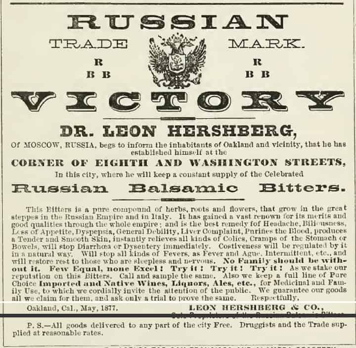 RussianBalsamicBittersAd_1877Oakland
