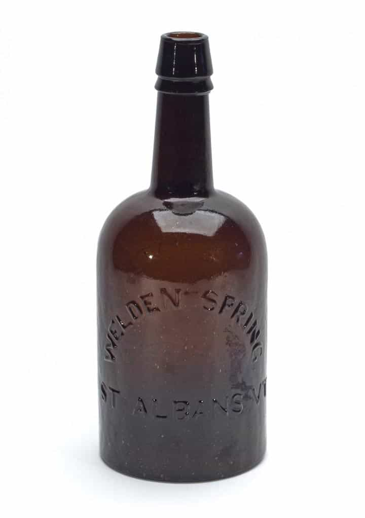 "Welden Spring (St. Albans, Vt. - ""Alterative / Chalybeate"") quart mineral water bottle, made circa 1860-1880 (est. $4,000-$8,000)."