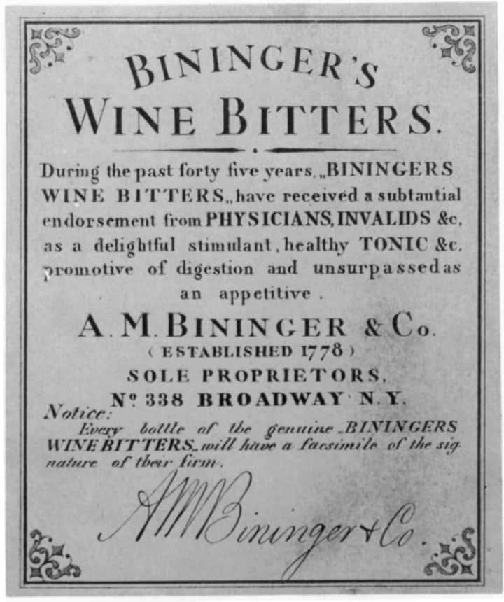 BiningerWineBittersLabel