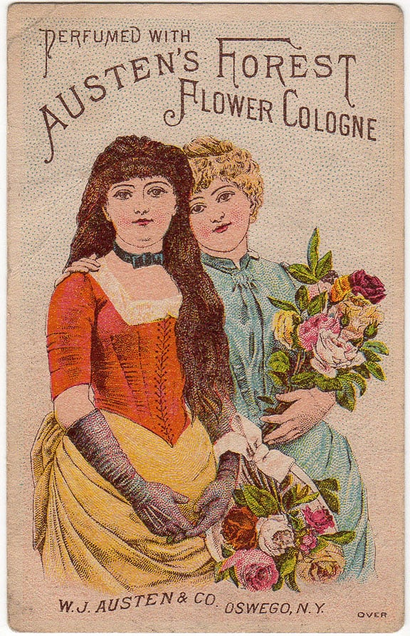 Advertising trade card, c. 1882. Austen's Forest Flower Cologne