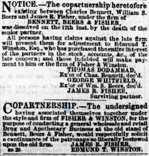 PartnershipformedFisher&Winston1857