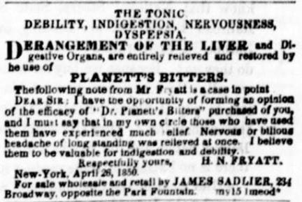 PlanettsBittersAd_NYDailyTribune_1850