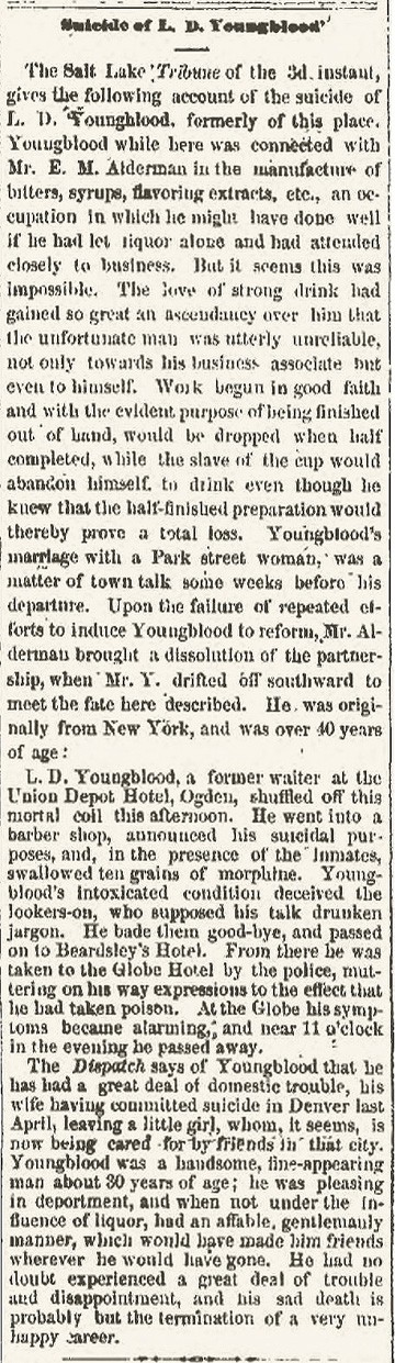 Suicide of L D Youngblood - Butte Daily Miner - Oct 7 1879
