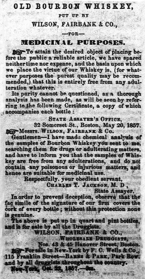 WilsonFairbankOldBourbonWhiskeyAd_1858