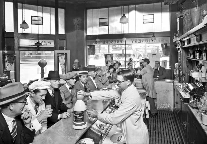 Drug store fountain, Southern California, 1927