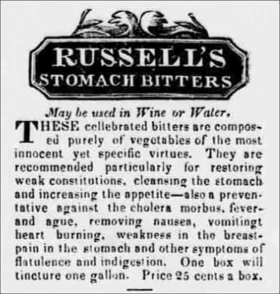Russel'sStomachBittersAd1_BurlingtonFreePress1836
