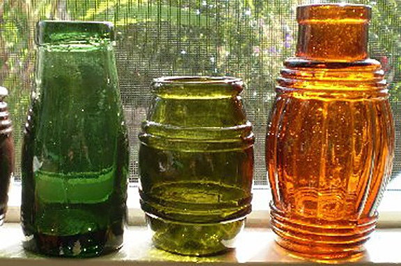 3 Coloured Jars c.1875- 1900