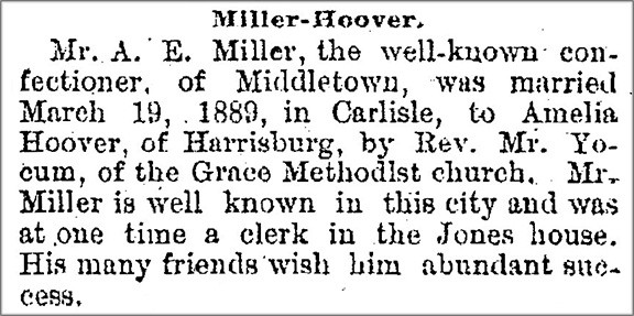 Harrisburg Patriot, March 27, 1889. Genealogybank.com
