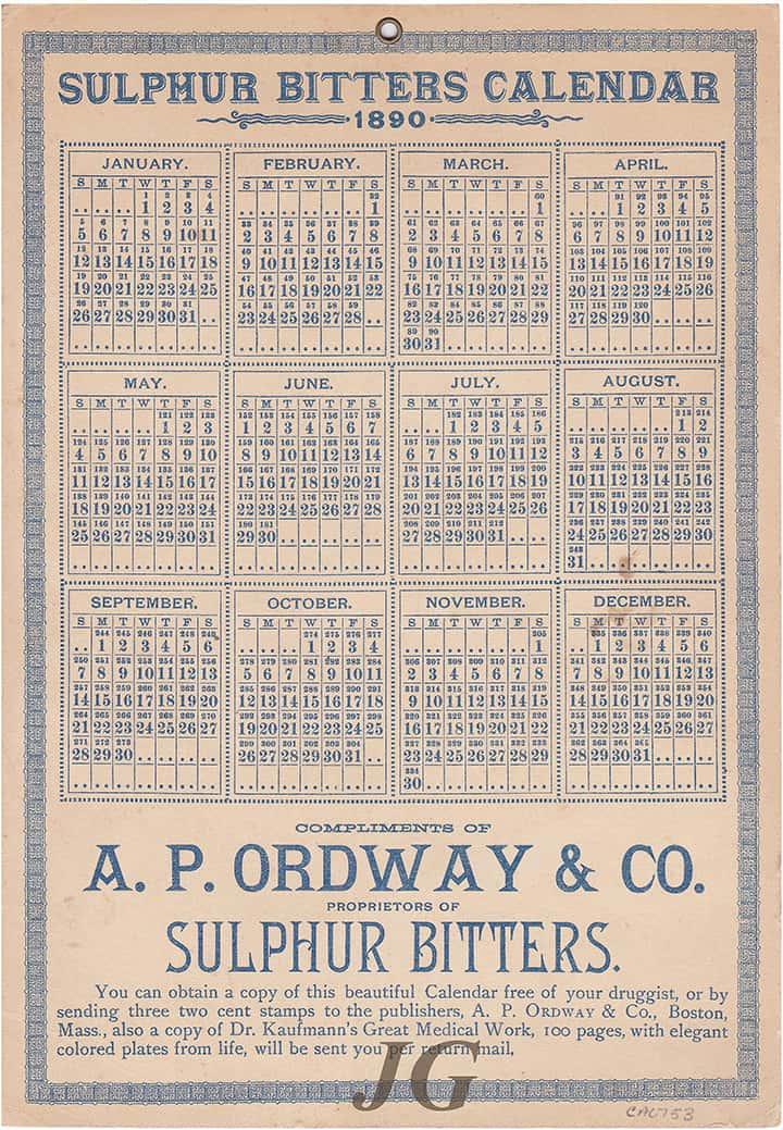 OrdwaySulphurBitters_1890 Calendar var_back