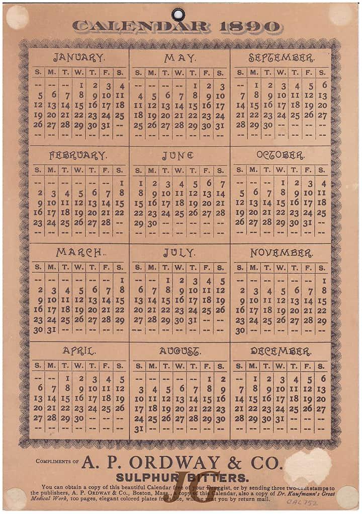 Ordway_SulphurBitters_1890 Calendar back
