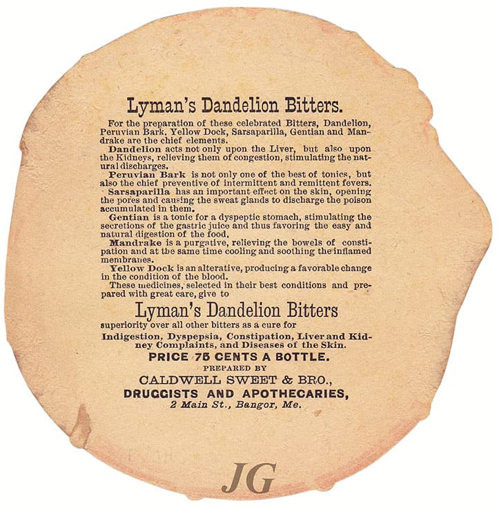 L138 Lyman's Dandelion Bitters Die Cut back_s