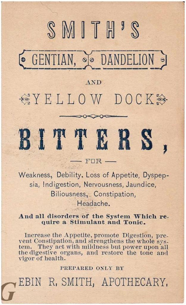 Smith's Gentian, Dandelion and Yellow Dock Bitters B