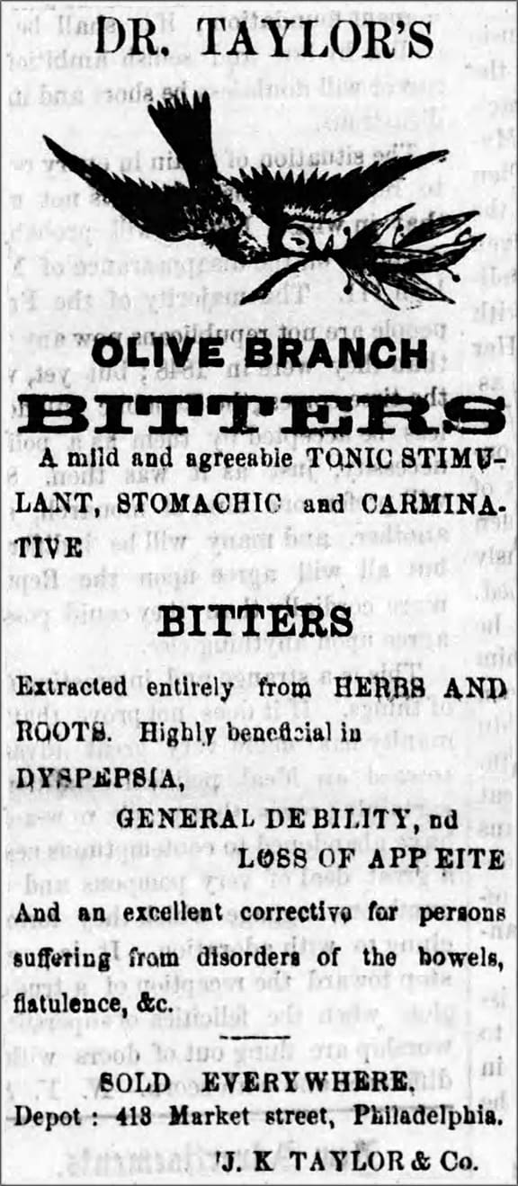 Taylors Olive Branch Bitters_Reading_Times_Thu__Nov_19__1868_-2