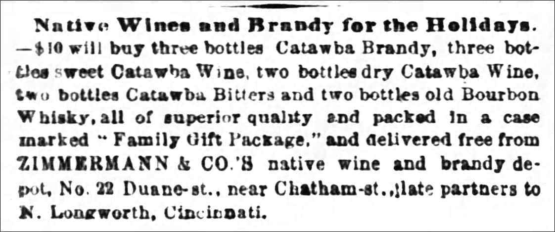 4f95d8f2db4968 ... Zimmermann & Co. native wine and brandy depot, No. 22 Duane Street,  late partners to N. Longworth, Cincinnati – The New York Times, Thursday,  ...